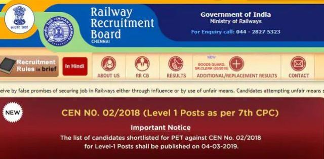 RRB Goup D Result 2019