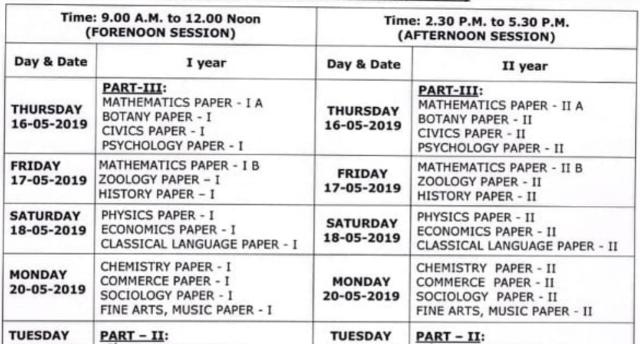 TS Telangana Inter Supplementary Exam Date Sheet 2019 Out