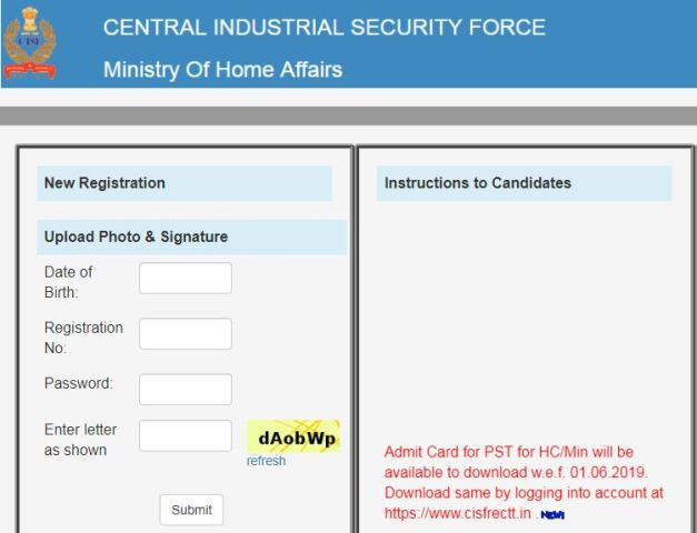 cisf admit card download 2019