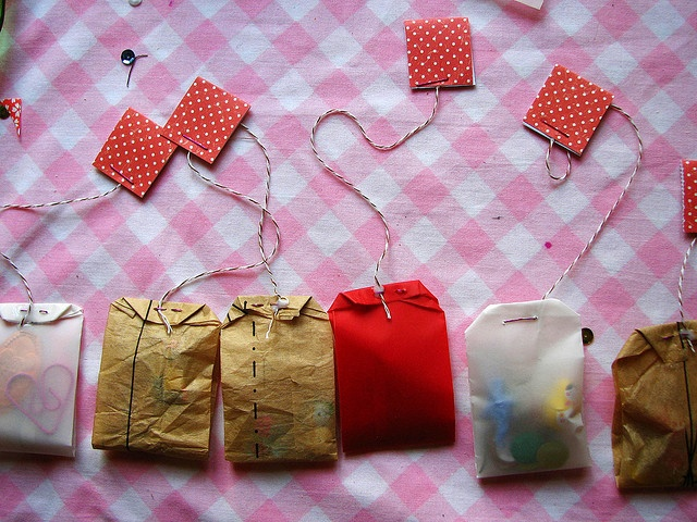 Stapler pins in tea bag